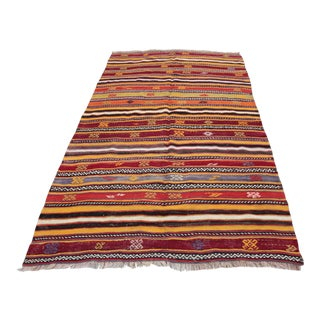 1950s Vintage Turkish Kilim Rug - 5′ × 8′ For Sale