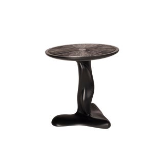Amorph Helios Side Table in Back Matte Lacquer With Silver Leaves Gilding For Sale