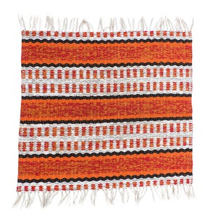"""Handwoven Reversible Vintage Plastic Swedish Rug by Scandinavian Made 22"""" x 24"""" For Sale"""