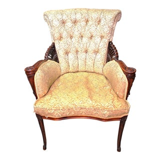Tufted Upholstered Fireside Mahogany Armchair Chair For Sale