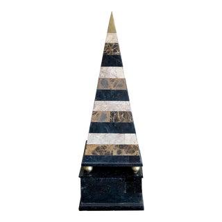 Monumental Striped Tessellated Specimen Marble Brass Obelisk For Sale