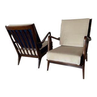 Gio Ponti Pair of Mid Century Club Chairs, Model N.516, Circa 1954 For Sale