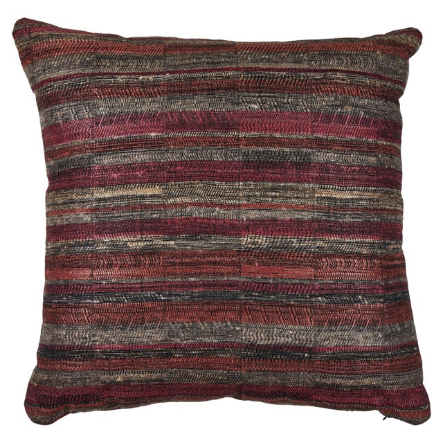 Indian Handwoven Pillow in Sunset Stripes For Sale In Los Angeles - Image 6 of 6