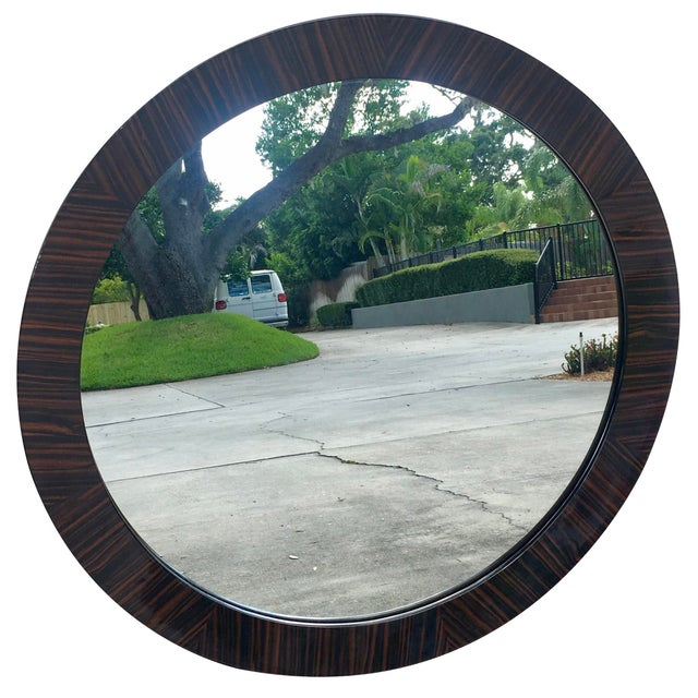 Contemporary Brown Burled Wood Frame Round Mirror For Sale - Image 3 of 3