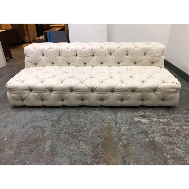 Restoration Hardware Soho Armless Sofa For Sale - Image 13 of 13