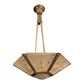 French Art Deco Chandelier by Georges Leleu For Sale
