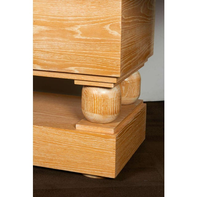 Paul Dupré-Lafon Hollywood Regency Limed Oak Console Table in the Style of Paul Dupre-Lafon For Sale - Image 4 of 9