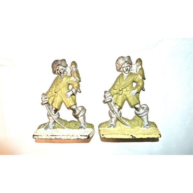 Metal 1920s Pirates With Parrots Painted Bookends - A Pair For Sale - Image 7 of 10