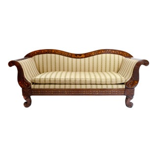 Early 19th Century Marquetry Wood Inlaid Sofa With Scrolled Back . For Sale