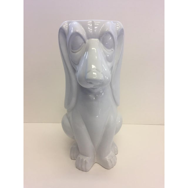 Italian Hound Dog White Ceramic Umbrella Stand For Sale - Image 9 of 12
