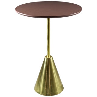 Stone-R Contemporary Handcrafted Brass Side Table, Flow Collection For Sale