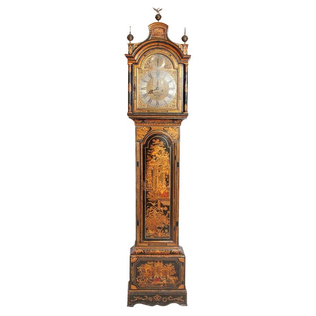George II Lacquered Chinoiserie Tall Case Clock Inscribed Jno. Fladgate, London For Sale