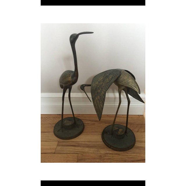 Asian Brass Crane Statues- a Pair For Sale - Image 3 of 13