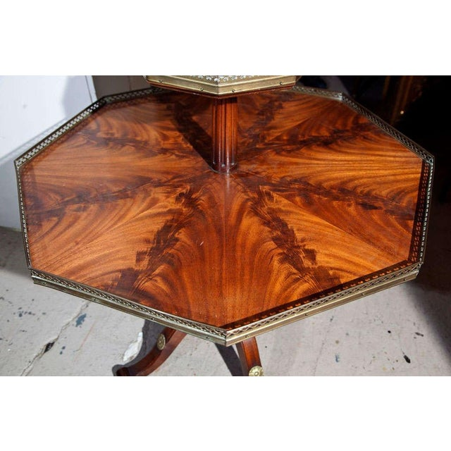 Maison Jansen Jansen Mahogany Octagonal Two-Tier Table For Sale - Image 4 of 10