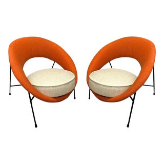 "Model ""Saturne"" Rare Pair of Chairs by Genevieve Dangles and Christian Defrance For Sale"