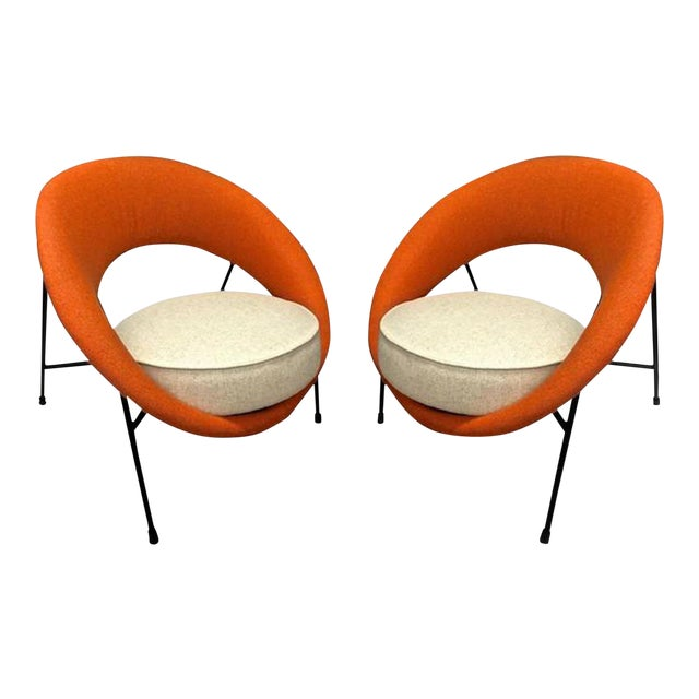 """Model """"Saturne"""" Rare Pair of Chairs by Genevieve Dangles and Christian Defrance For Sale"""
