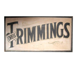 Vintage Trimmings Store Sign For Sale