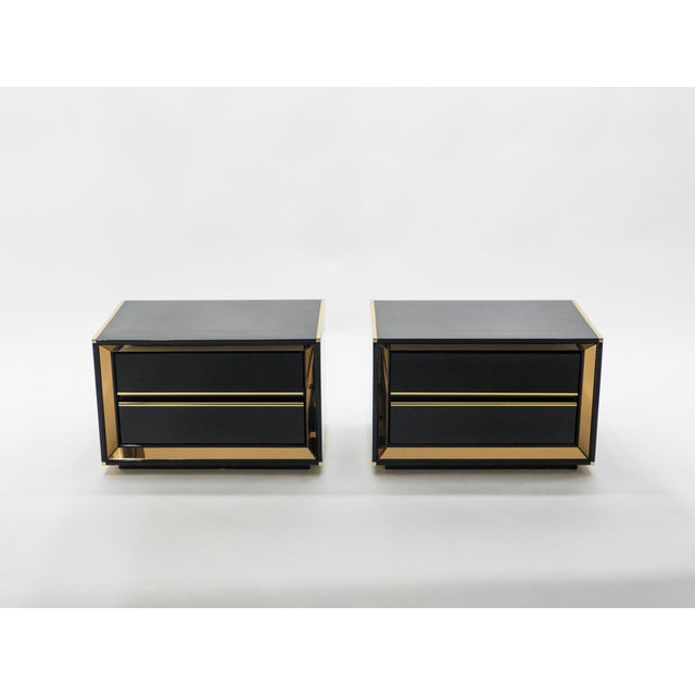 Italian Sandro Petti Black Lacquered Brass Mirrored Nightstands Tables, 1970s For Sale - Image 11 of 13
