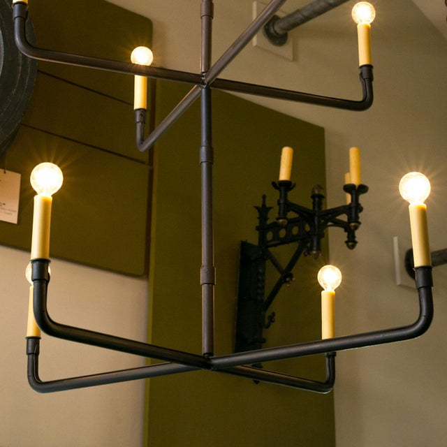 Two-Tier Hand-Made Iron Chandelier For Sale - Image 4 of 6