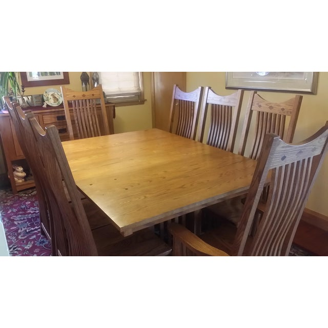 Sienna Solid Quatersawn Oak Mission-Style Dining Set - Set of 9 For Sale - Image 8 of 13