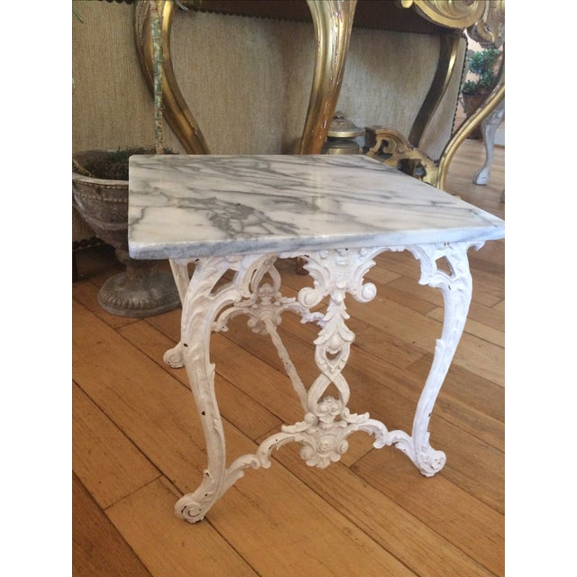 Marble & Cast Iron Side Table - Image 3 of 4