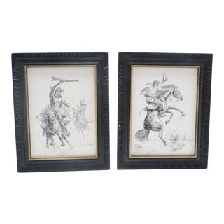 Vintage Mid-Century Western Ink on Canvas Drawings - A Pair For Sale