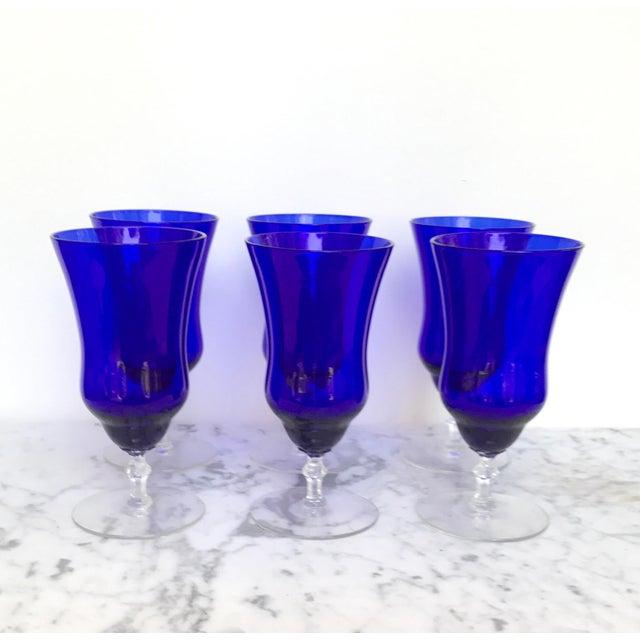 Vintage Cobalt Blue Wine Glasses - Set of 6 - Image 2 of 6