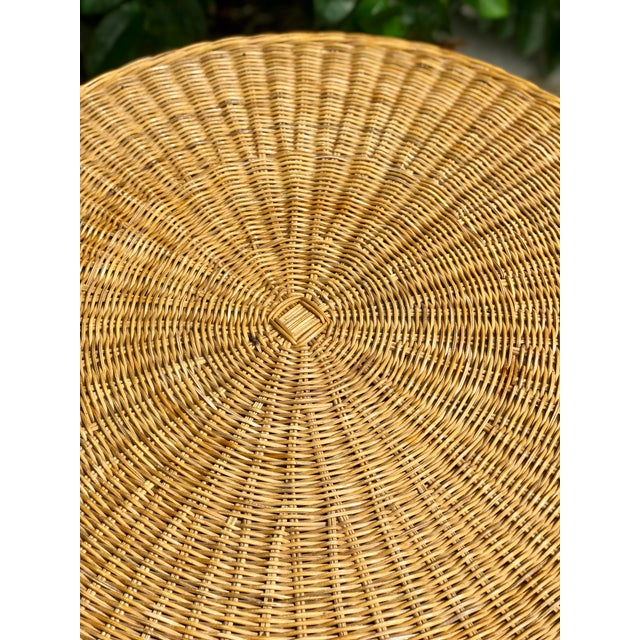 Mid-Century Modern Vintage Wicker Rattan Dining Table For Sale - Image 3 of 13