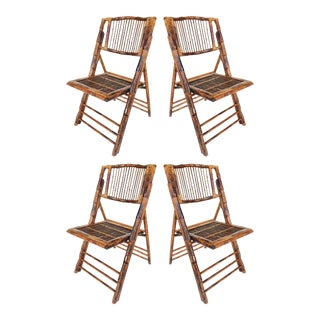 Mid-Century Bamboo Folding Chairs -Set of 4 - 2 Sets Available For Sale