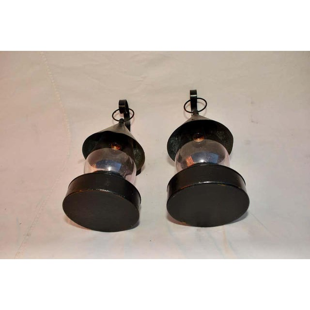 Late 19th Century Outdoor Sconces With Amethyst Glass - a Pair For Sale In Los Angeles - Image 6 of 9