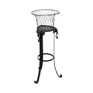 Victorian Wrought Iron Black Plant Stand W/ Elephant Heads For Sale