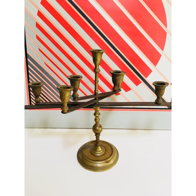 Mid-Century Vintage Articulating Brass Menorah For Sale - Image 4 of 10