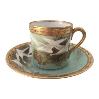 Antique Hand Painted Nippon Demitasse Cup & Saucer