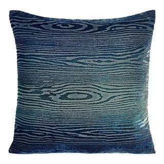 Shark Blue Woodgrain Velvet Pillow