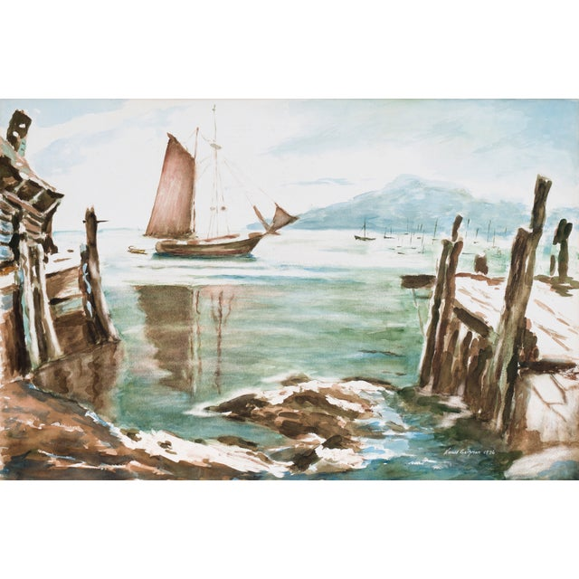 Harold Guthman Vintage 1973 Safe Harbor Painting For Sale
