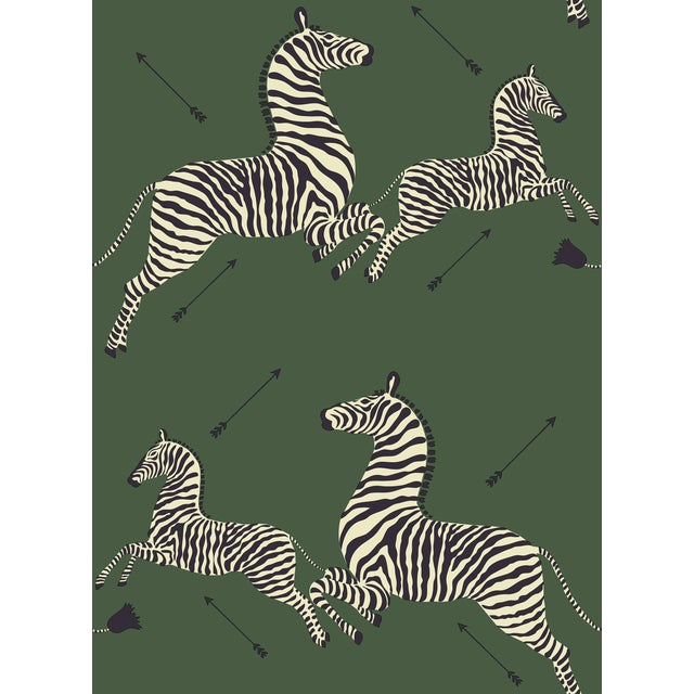 Red by Scalamandre Peel & Stick Wallpaper, Zebras, Serengeti Green For Sale