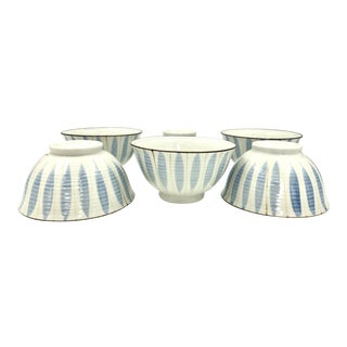 Japanese Chinese Asian Ceramic Stoneware Porcelain Autumn Fall Leaves Bowls Blue on White - Set of 6 For Sale