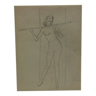 """Vintage Original Drawing on Paper, """"Hanging On"""" by Tom Sturges Jr., Circa 1945 For Sale"""