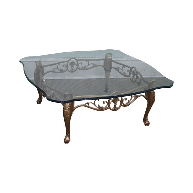 Vintage Brass & Glass French Louis XV Coffee Table - Image 1 of 10
