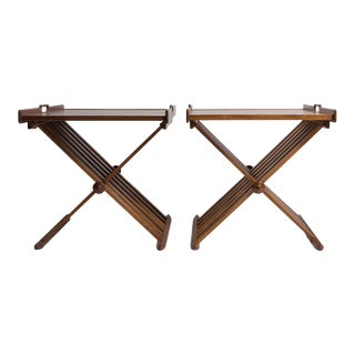 Pair of Walnut Folding Campaign Tray Tables For Sale