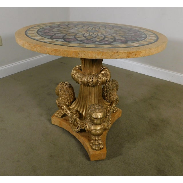 1990s Neo-Classical Style Gilt Lion Carved Center table Round, Mosaic Tessellated Stone top For Sale - Image 5 of 13