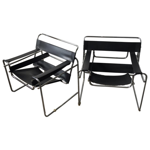 Wassily Style Chrome & Black Leather Chairs - Pair - Image 1 of 11