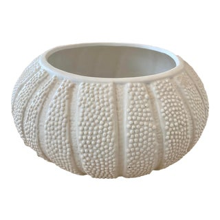 20th Century Ceramic Matte White Coastal Sea Urchin Bowl Planter For Sale