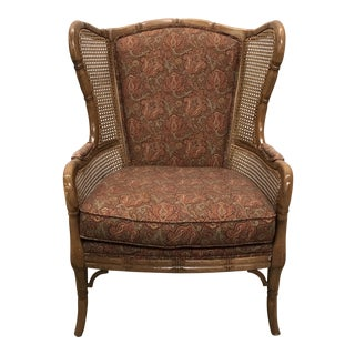 Traditional British West Indies Wingback Chair For Sale