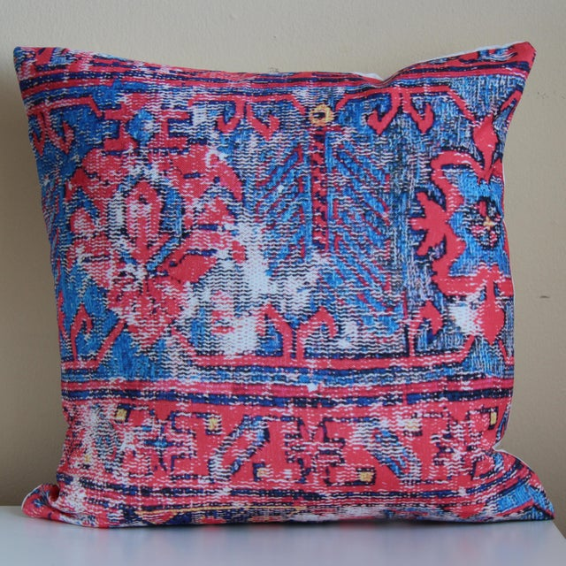 "A red distressed Turkish rug printed pillow measuring 18x18"". Warm up your place with this lovely pillow cover, printed on..."