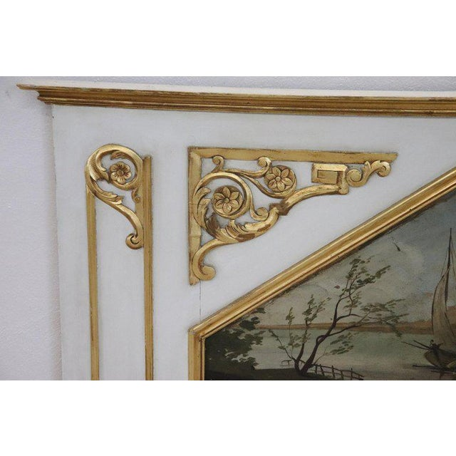 Beautiful elegant large fireplace mirror in perfect Louis XVI style, 1950s wood lacquered finely and richly carved with...