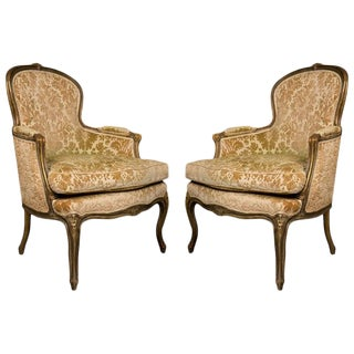 Pair of French Walnut Bergere Chairs For Sale