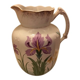 Antique Pitcher Vase Victorian English Featuring a Beautiful Flower and a Dragonfly For Sale