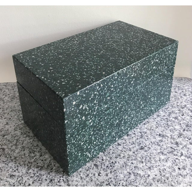 Beautiful green aggregate jewelry box with removable divided tray. Substantial weight and beautiful design.