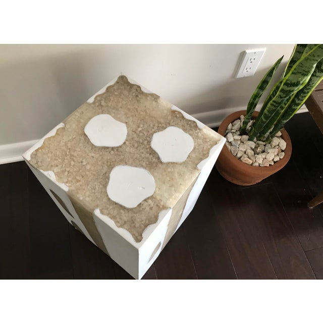 White Modern Mieke by Made Goods White Teak Wood and Crystal Resin Side Table Stool For Sale - Image 8 of 12